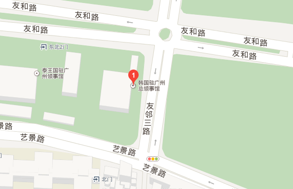 韩国驻广州大使馆事馆地理位置
