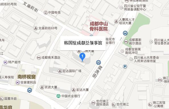 韩国驻成都总领事馆地理位置